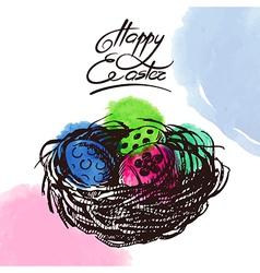 Vintage Easter background hand drawn sketch vector image