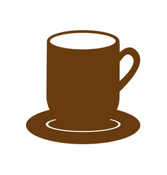 brown dish porcelain with mug vector image vector image