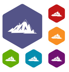 Canadian mountains icons set hexagon vector