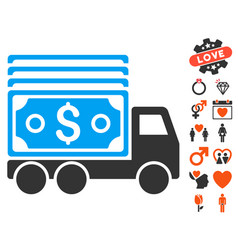 cash lorry icon with valentine bonus vector image vector image