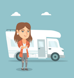 caucasian woman standing in front of motorhome vector image vector image