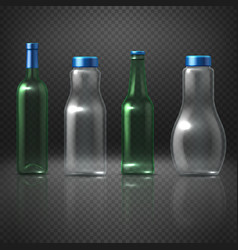 empty glass bottles for alcoholic and vector image vector image