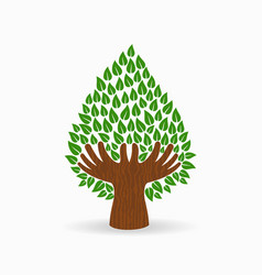 green human hand tree concept vector image