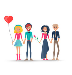 happy couples in love pairs of boys girls lovers vector image vector image