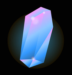 luminous crystal of blue color with pink glow vector image vector image