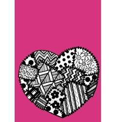 Postcard heart patchwork vector image