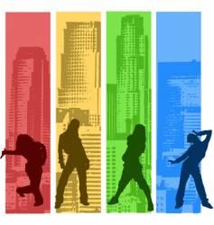 rainbow color hip hop silhouette vector image vector image