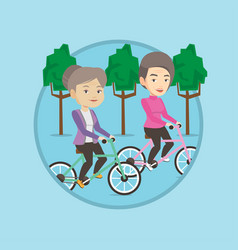 senior women riding on bicycles in the park vector image