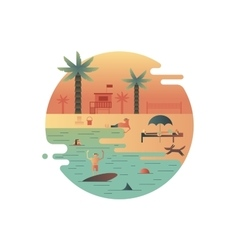 Beach icon with palm and people vector image
