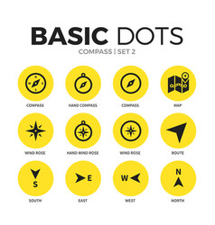 compass flat icons set vector image