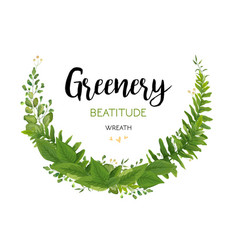 floral card with green eucalyptus fern leaves vector image