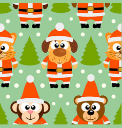 new year seamless card with funny animal vector image vector image