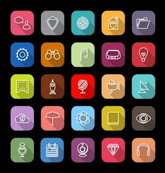 SEO line icons with long shadow vector image vector image