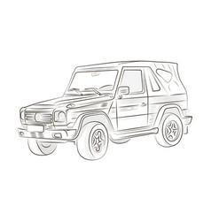 sketch of a car on a white background vector image