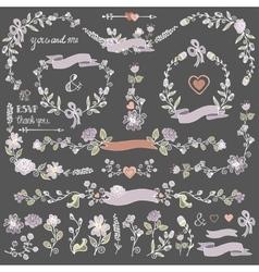 Colored Doodles floral decor setBorderscorner vector image vector image