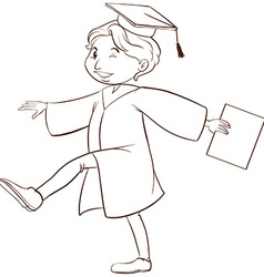 A drawing of a person graduating vector image