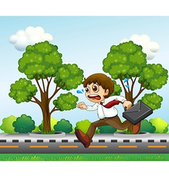 A man running hurriedly with a suitcase vector