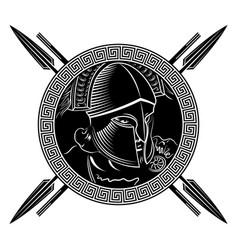 ancient spartan warrior helmet greek ornament vector image