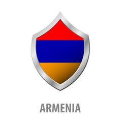 armenia flag on metal shiny shield vector image