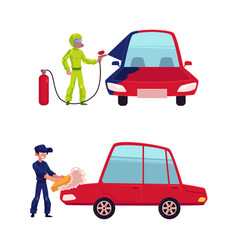 auto mechanic painting and washing a car vector image