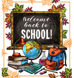back to school poster with education supplies vector image