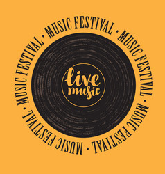Banner with vinyl record and lettering live music vector