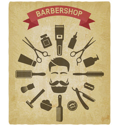 barbershop tools around male face vintage vector image
