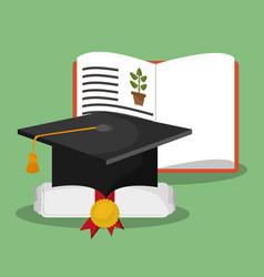 Biology book certificate graduation hat vector