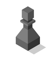 Black isometric pawn isolated vector