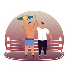 boxer with belt referee at winner award ceremony vector image