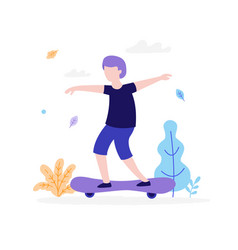 boy skateboarding outdoors in park isolated on vector image