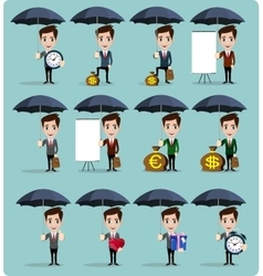 Businessman holding umbrella for protecting vector image