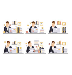 businessman in workplace set male office employee vector image