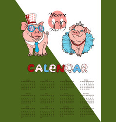 Calendar featuring pigs dressed in costumes 2019 vector