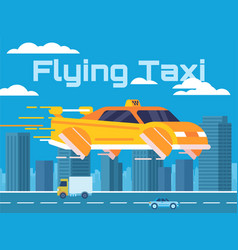 cartoon of a flying taxi in a big vector image