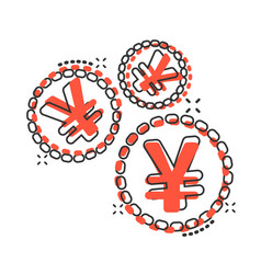 Cartoon yen yuan money currency icon in comic vector