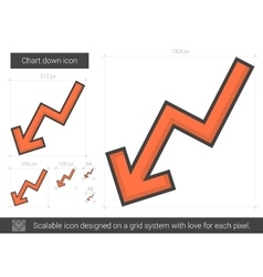 Chart down line icon vector