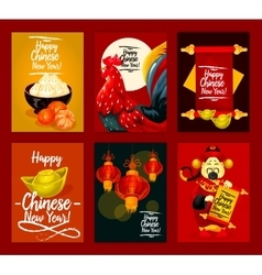 Chinese Lunar New Year Spring Festival poster set vector