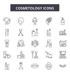 Cosmetology line icons signs set outline vector