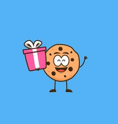 Cute cookies snack cartoon character mascot carry vector