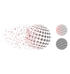 Dispersed pixel halftone abstract dotted sphere vector