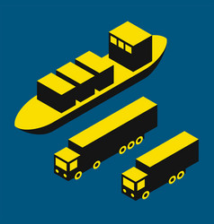 dry cargo and trucks vector image