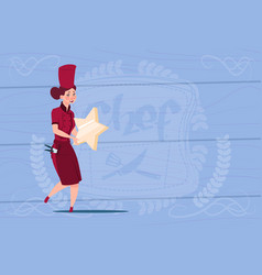 female cook holding star best chef award happy vector image