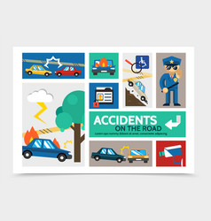 Flat auto accident infographic concept vector