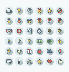 flat color thin line icons set with award vector image