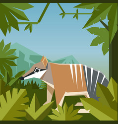 flat geometric jungle background with numbat vector image