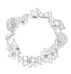 floral frame on white background vector image