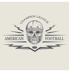 Football with a skull wearing a helmet vector