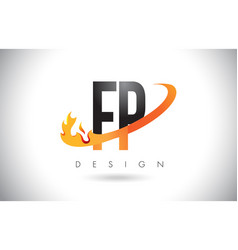 fp f p letter logo with fire flames design and vector image