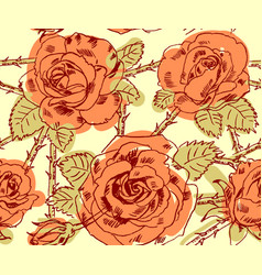 freehand drawing roses vector image